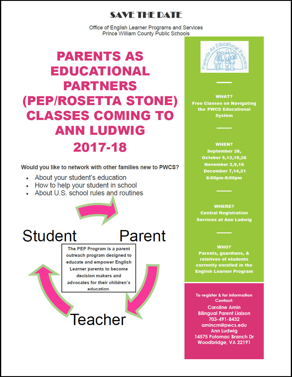 PARENTS AS EDUCATIONAL PARTNERS (PEP/ROSETTA STONE) CLASSES COMING TO ANN LUDWIG 2017-18